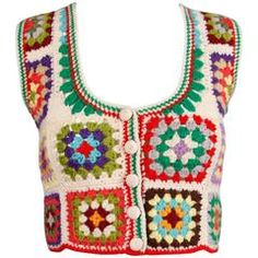 Adolfo Colorful Vintage Wool Granny Squares Hand Crochet Vest Top, For Sale Crochet Vest Pattern, Crochet Cape, Crochet Granny, Knit Crochet, Crochet Vests, Shawl Patterns, Crochet Tank Tops, Crochet Shirt, Jackets