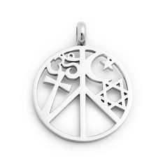 """Give peace a chance! This unique silver peace pendant features a variety of religious symbols within the circle.  - Sterling silver  - 1"""" diameter  - Chain sold separately  Item # AAB61001000"""