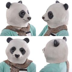 Halloween Idea 2017 - New Animal Head Mask Panda Costume For Halloween Party Latex Adult - Just $7.78