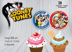 Looney Tunes Toppers, Birthday Party Decor, Toppers, Cartoon, Stickers, Label, Printable Cupcake Toppers, Instant Download