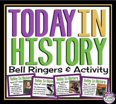 Bell Ringers - Today In History Help your students gain knowledge of important world events and influential people with these bell-ringers to last you the entire year!   Each slide gives students information about an interesting historical or cultural event/person related to every single date in the year.