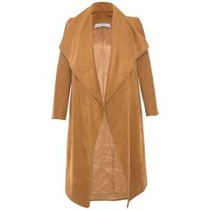 Ellsworth & Ivey - Camel Faux Suede Wrap Jacket ($420) ❤ liked on Polyvore featuring outerwear, jackets, drape jacket, water proof jacket, beige jacket, faux suede jacket and drapey jacket