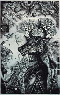 Mitsura Nagashima 銅版画・Metamorphosis No.38 Asian Folk Tale