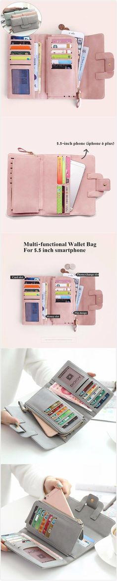 [$ 13.59]   Women Stylish Large Capacity Multi-slots Button Hand Long Wallet 5.5 inch Phone Bag Card Holder