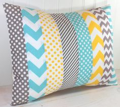 Pillow Cover, Nursery Pillow Cover, Patchwork Pillow, Accent Pillow, 12 x 16 Inches, Aqua Blue, Yellow, White and Gray Chevron Stripes Dots
