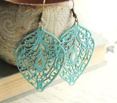 Blue Patina Earrings, Patina Jewelry, Filigree Earrings, Aqua, Turquoise, Long Earrings, Faux Painted Patina.  via Etsy.