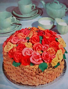 Frosting Roses in a Frosting Basket-Cake
