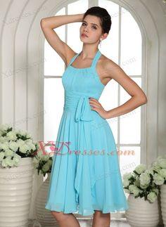 9da9475d8f Lorman Aqua Blue Halter Sash Chiffon Bridesmaid dresses Knee-length Aqua  Blue Bridesmaid Dresses