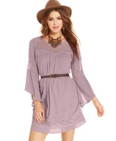 American Rag Lace-Panel Belted Dress