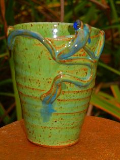 Stoneware tumbler with frog by TeriWhitnerArt on Etsy, $18.00