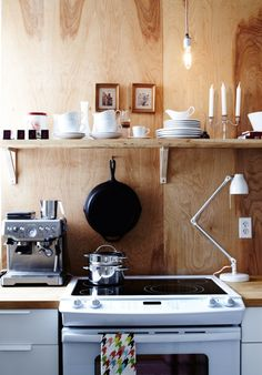 Does the versatility of plywood have no limit? See 10 favourite Plywood applications by Christine Chang Hanway. From boats to furniture; plywood is flexible, inexpensive, easy to use, and reusable. Rustic Kitchen, Kitchen Dining, Kitchen Walls, Kitchen Cabinets, Wooden Kitchen, Quirky Kitchen, Happy Kitchen, Nice Kitchen, Kitchen White