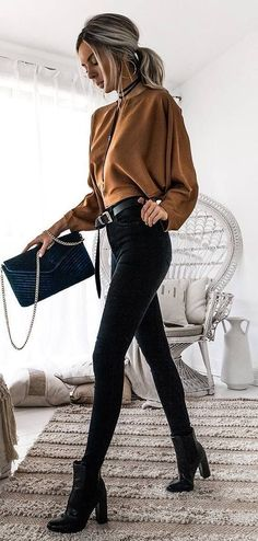 brown and black outfit / top + bag + skinny jeans + boots (scheduled via http://www.tailwindapp.com?utm_source=pinterest&utm_medium=twpin)