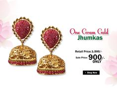 Get this One Gram Gold Jhumkas with Rubies at best price.... Buy at link:http://bit.ly/29af1Jc