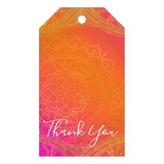 Fuchsia Pink Orange & Gold Indian Mandala Party Gift Tags - home gifts ideas decor special unique custom individual customized individualized