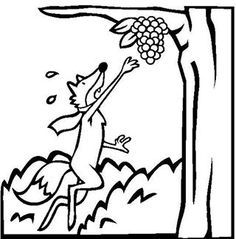 Free Aesops Fables Coloring Pages. Color in this picture of The Fox And The Grapes and others with our library of online coloring pages. Online Coloring Pages, Free Printable Coloring Pages, Coloring Books, Autumn Activities, Craft Activities, Grape Drawing, Grape Color, How To Make Drawing, Page Online