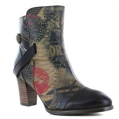 Laura Vita SL894-7A Angelique Womens Leather Ankle Boots - Black