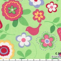 Lecien House Designer - Flower Sugar - Songbird in Green