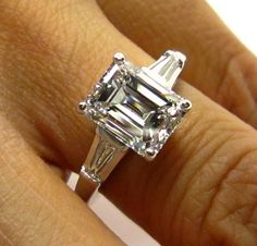 3.01ct Estate Vintage Emerald Cut Diamond  with 2 Baguettes Platinum Engagement , Wedding, Anniversary Ring, EGL USA