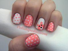 polk dots and a little bear  #polishpedia #nailart