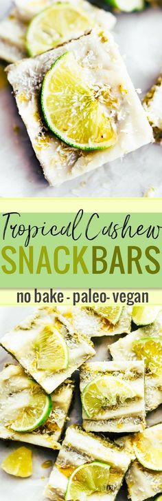 Tropical Cashew No Bake Snack Bars is a vegan, paleo, healthy snack bars recipe, inspired by my love for Hawaiian flavors! With dried pineapple, cashew, coconut, lime, and a coconut glaze, this easy dessert style snack bars recipe has an explosion of tropical flavor! Perfect for summer snacking, desserts, or even a breakfast to go bar! www.cottercrunch.com