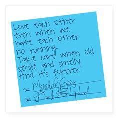 "Greys Anatomy: Post It Square Sticker 3"" x 3"" on CafePress.com"