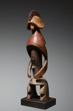Africa | Sculpture from the Mumuye people of Nigeria | Wood, with remains of red, black and white pigment