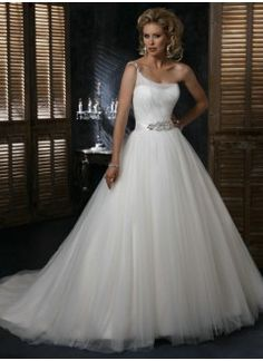 Gorgeous One Shoulder Satin and Tulle Ball Gown Wedding Dress
