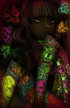 The Girl with Fluorescent Tattoos by Carlos Lerma