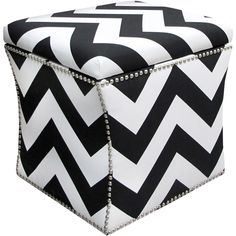 Black & White Chevron Ottoman