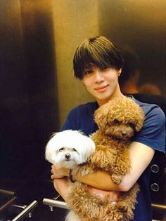 Taemin and dogs