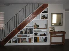 under stairs bookcase. The space under a staircase can be used to keep everyday clutter out of the way.