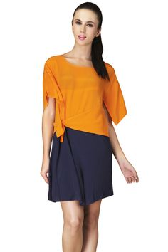 Orange Navy Split Short Sleeve Silk Blouse
