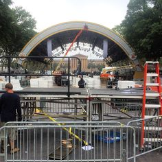 The letters are starting to come down from the stage where just last night Pope Francis held mass on the Benjamin Franklin Parkway Monday September 28 2015. #PVatPope Photo by- @thom_carroll