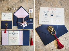 pink and blue invitation inspired by Wes Anderson's Grand Budapest Hotel