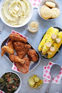The Ultimate Southern Dinner is here! Cleaned up and gluten-free style. We have Instant Pot Corn on the Cob + Southern Butter, Classic Mashed Potatoes, Gluten-Free Gravy, Collard Greens, and Fried Chicken (Hot or Not)! Easy Meat Recipes, Easy Delicious Recipes, Clean Eating Recipes, Easy Dinner Recipes, Real Food Recipes, Tasty, Pork Recipes, Paleo Recipes, Chicken Recipes