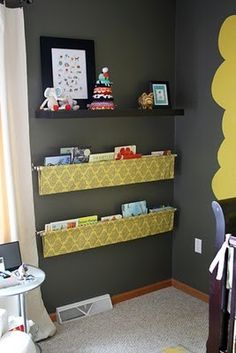 Fabric bookshelves...what a cute and awesome idea!