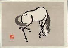 FOR SALE: Yoshijiro (Mokuchu) Urushibara Japanese color woodblock print, X Japanese Prints, Japanese Art, Different Art Styles, Guache, Human Art, Equine Art, Sacred Art, Horse Art, Gravure