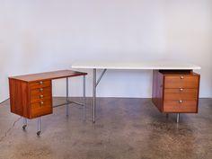 George Nelson Walnut Desk System with Typewriter Desk