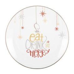 "Amazon.com: Lenox ""Eat, Drink, & Be Merry"" Ornament Graphic Dessert Plates Set of 4: Kitchen & Dining"