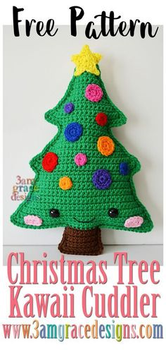 Christmas Tree Kawaii Cuddler™ - Free Crochet Pattern Our free Christmas Tree amigurumi crochet pattern is both easy and fun! A perfect addition to your Christmas decorations & decor! Kawaii Crochet, Crochet Gratis, Cute Crochet, Crochet For Kids, Beautiful Crochet, Crochet Dolls, Crochet Angels, Crochet Christmas Trees, Holiday Crochet