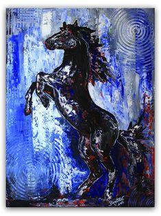 Steigendes Pferd - Pferdebild Malerei Gemälde Unikat Schwarzer Hengst - Pferdebild Malerei Gemälde Unikat www.burgstallers-art.de/online-shop