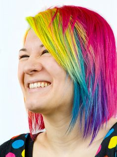 great rainbow hair!