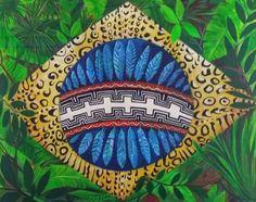 Ana Mendina : Nosso Brasil Indígena _ Celebrando os povos da Ama... Skull Wallpaper, Pattern Wallpaper, Brazil Art, Pottery Patterns, Rainbow Warrior, Indigenous Art, Painting & Drawing, Amazing Art, Street Art