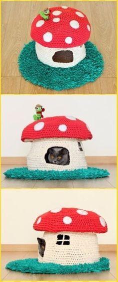 Crochet Woodland Mushroom Cat House Paid Pattern - Crochet Cat House Patterns Knitting Patterns Free Dog, Crochet Patterns, Crochet Ideas, Free Pattern, Crochet Crafts, Crochet Projects, Cat Anime, Crochet Mushroom, Cat House Diy