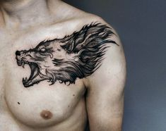 #tattoo #wolf #head #blackworks