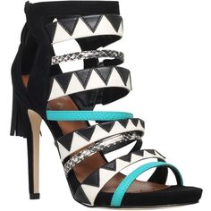 Miss KG Farrah Fringe Straps High Heel Sandals, Black/Other ($140) ❤ liked on Polyvore featuring shoes, sandals, black high heel sandals, black stilettos, flat strap sandals, open toe sandals and strap sandals