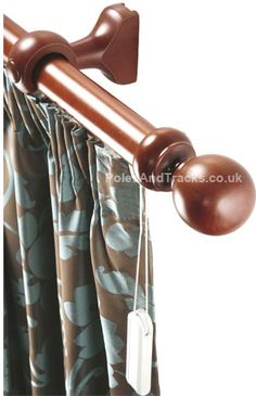 Barkley Corded Wooden Pole in Dark Teak (Including VAT at Wooden Curtain Poles, Wooden Poles, Metal Pole, Curtain Fabric, Wood And Metal, Teak, Curtains