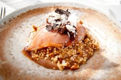 slow cooked coturnix quail breast with pumpernickel, walnuts, quinoa, truffle, chestnuts, milk skin
