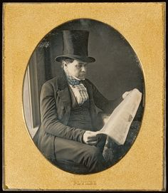 Portrait of a Man Reading a Newspaper; John Plumbe Jr. (American, born United Kingdom, 1809 - 1857); about 1842; Daguerreotype; 8.9 x 7 cm (3 1/2 x 2 3/4 in.); 84.XT.1565.22; J. Paul Getty Museum, Los Angeles, California