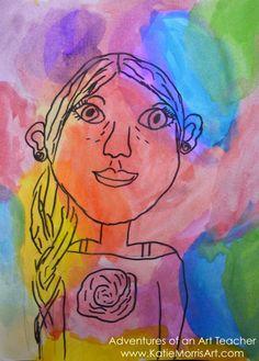 2nd Grade Contour Watercolors